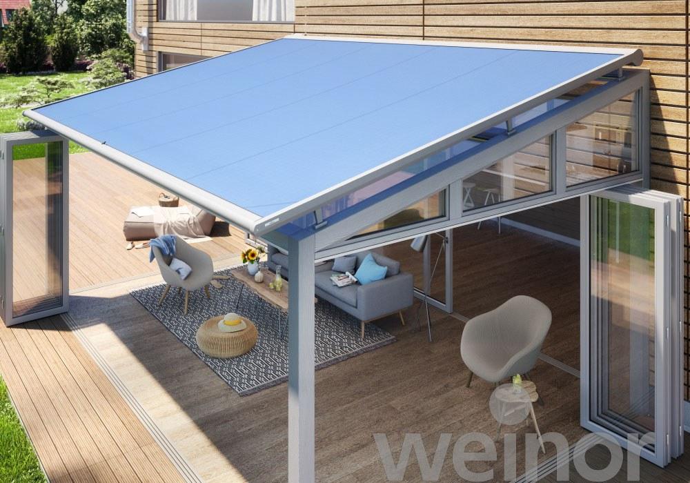 Regenschutz Terrasse Sonnensegel Auf Der Holz Terrasse